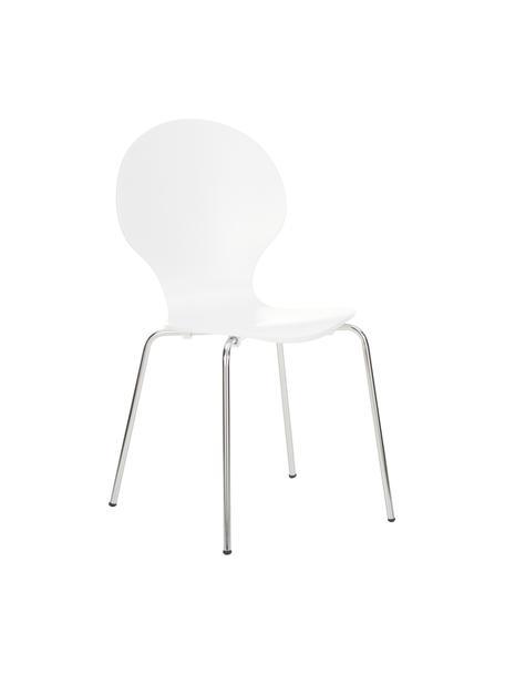 Esszimmerstühle Marcus, 4 Stück, Sitzfläche: Mitteldichte Holzfaserpla, Gestell: Stahl, verchromt, Weiss, B 49 x T 53 cm