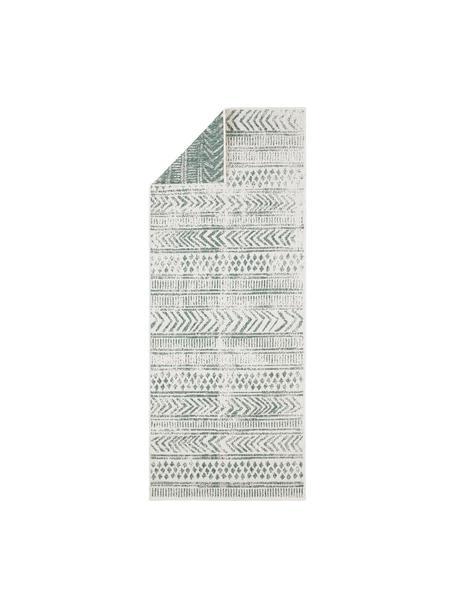 Dubbelzijdige in- en outdoor loper Biri met grafisch patroon in groen/crèmekleur, 100% polypropyleen, Groen, crèmekleurig, 80 x 250 cm