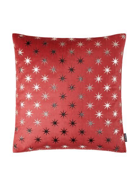 Poszewka na poduszkę Cosmos, Poliester, Czerwony, odcienie srebrnego, S 40 x D 40 cm