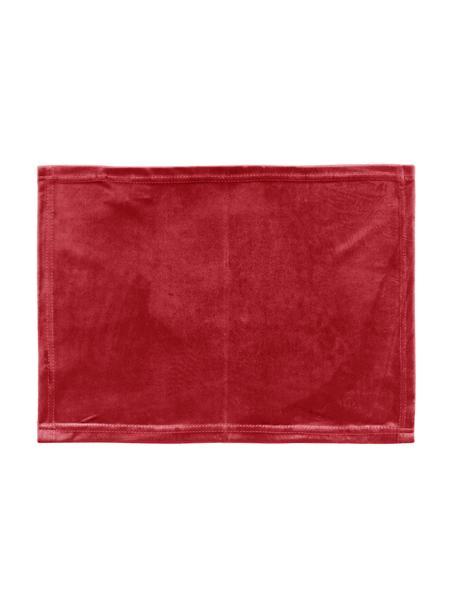 Set 2 tovagliette americane in velluto Simone, 100% velluto di poliestere, Rosso, Larg. 35 x Lung. 45 cm