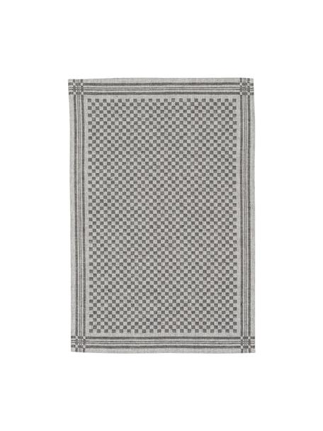 Halbleinen-Geschirrtücher Schachbrett, 2 Stück, Schwarz, Creme, 50 x 70 cm