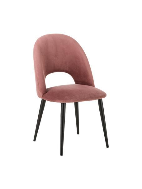 Silla de terciopelo Rachel, Tapizado: terciopelo (tapizado de p, Patas: metal con pintura en polv, Terciopelo rosa palo, An 53 x F 57 cm
