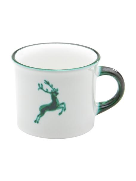 Handbeschilderde koffiemok Green Deer, Keramiek, Groen, wit, 240 ml