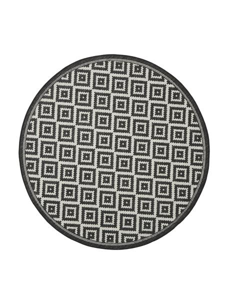 Gemusterter In- & Outdoor-Teppich Miami in Schwarz/Weiß, 86% Polypropylen, 14% Polyester, Weiß, Schwarz, Ø 140 cm (Größe M)