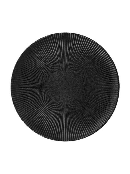 Plato llano Neri, Gres Superficie texturizada con surcos y ligeramente rugosa, Negro, Ø 29 cm