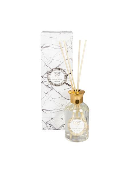 Diffuser White Marble (Mimose & Rose), Deckel: Metall, Flakon: Transparent  Deckel: Goldfarben  Stäbchen: Holz, Ø 9 x H 28 cm