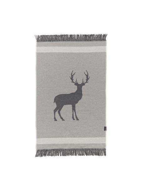 Kleiner Teppich Goliath mit Fransen und Hirschmotiv, Recycelte Baumwolle, Grau, Dunkelgrau, Beige, B 70 x L 120 cm (Größe XS)