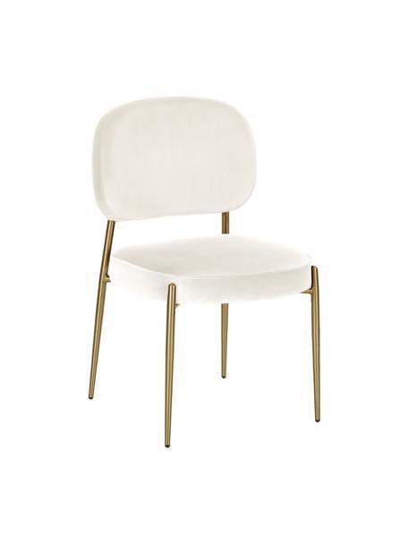 Sedia imbottita in velluto Viggo, Rivestimento: velluto (poliestere) Con , Beige, Larg. 49 x Prof. 66 cm