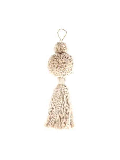 Baumanhänger Pompon, 2 Stück, Baumwolle mit Lurexfaden, Weiss, Goldfarben, Ø 8 x H 37 cm