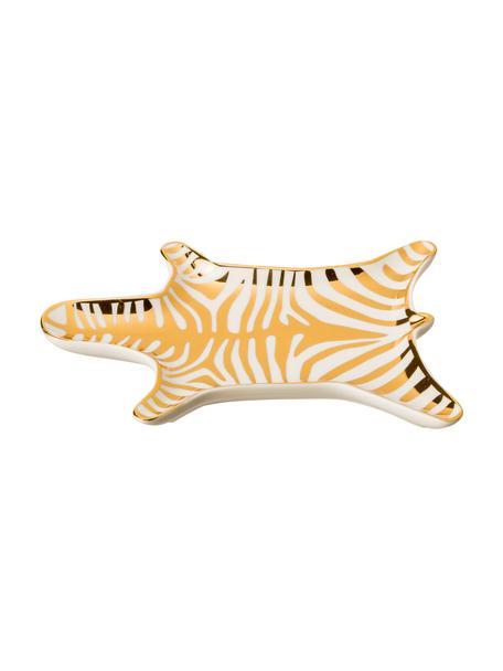 Designer-Deko-Schale Zebra aus Porzellan, Porzellan, Goldfarben, Weiß, B 15 x T 11 cm