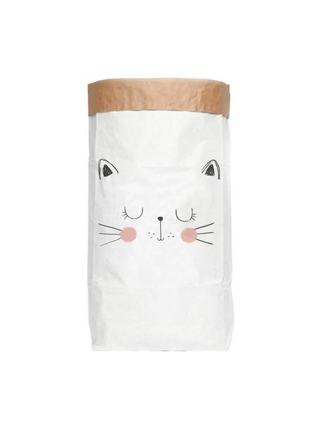 Opbergzak Cat, Gerecycled papier, Wit, zwart, roze, 60 x 90 cm