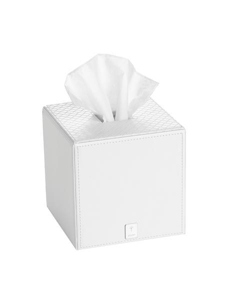 Porta fazzoletti Polly, Resina, pelle ecologica, Bianco, L 13 x A 13 cm