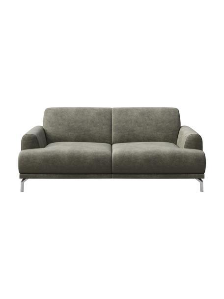 Sofa z imitacji skóry Puzo (2-osobowa), Tapicerka: poliester imitujący skórę, Nogi: metal lakierowany, Szary, S 170 x G 84 cm