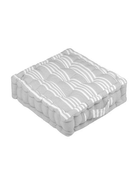Cojín de suelo pequeño Mandelieu, Mezcla de algodón, Gris claro, blanco, An 45 x L 45 cm