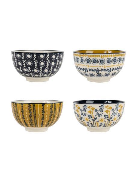 Cuencos Veg-Gold, 4uds., Gres, Azul, mostaza, Ø 12 x Al 7 cm