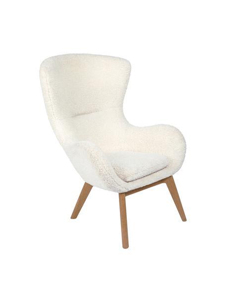 Teddy-fauteuil Wing in crèmewit met houten poten, Bekleding: polyester (teddy), Poten: gelakt massief hout met e, Crème wit, B 77 x D 89 cm