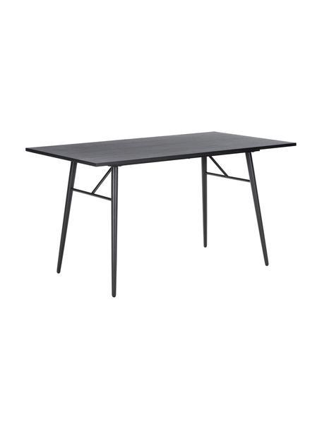 Stół do jadalni z drewna z metalową ramą Jette, Blat: fornir z drewna dębowego,, Nogi: metal malowany proszkowo, Czarny, S 140 x G 80 cm