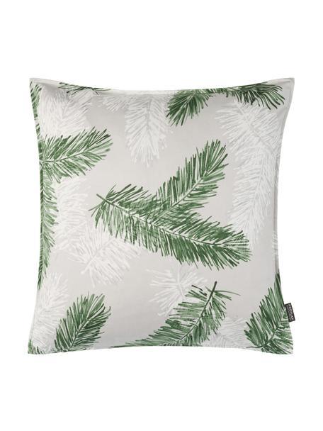 Poszewka na poduszkę Pinus, Bawełna, Szary, zielony, S 40 x D 40 cm