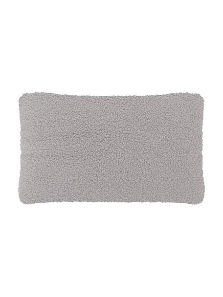 Flauschige Teddy-Kissenhülle Mille in Hellgrau, Vorderseite: 100% Polyester (Teddyfell, Rückseite: 100% Polyester (Teddyfell, Hellgrau, 30 x 50 cm
