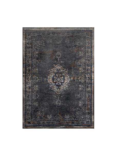 Alfombra de chenilla Medaillon, estilo vintage, Parte superior: 100%chenilla (algodón), Reverso: tejido de chenilla recubi, Negro, beige, An 80 x L 150 cm (Tamaño XS)