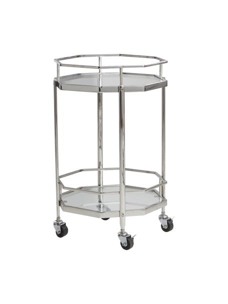 Bar cart Bilbao, Plateaus: glas, Frame: verchroomd metaal, Chroomkleurig, transparant, Ø 48 x H 76 cm