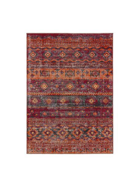 Tappeto vintage da interno-esterno Tilas Istanbul, Rosso scuro, giallo senape, kaki, Larg. 120 x Lung. 170 cm (taglia S)