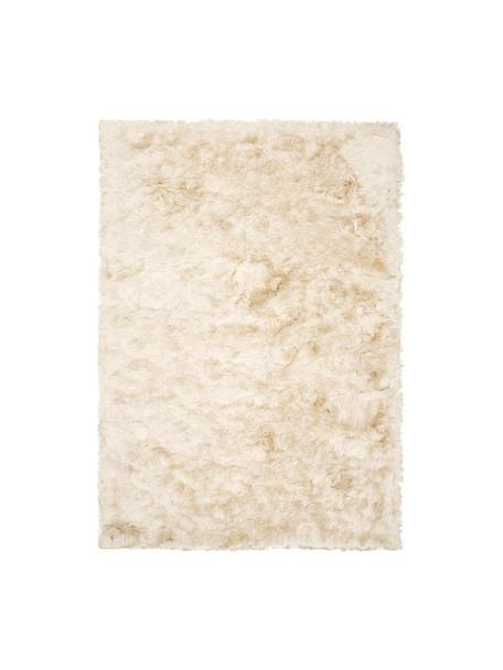 Glanzend hoogpolig vloerkleed Jimmy in ivoorkleur, Bovenzijde: 100% polyester, Onderzijde: 100% katoen, Ivoorkleurig, B 80 x L 150 cm (maat XS)