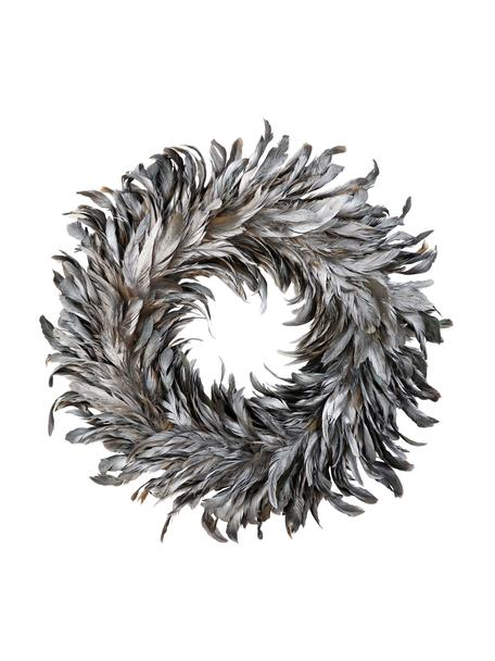 Federkranz Argento , Federn, Styropor, Grau, Ø 37 cm