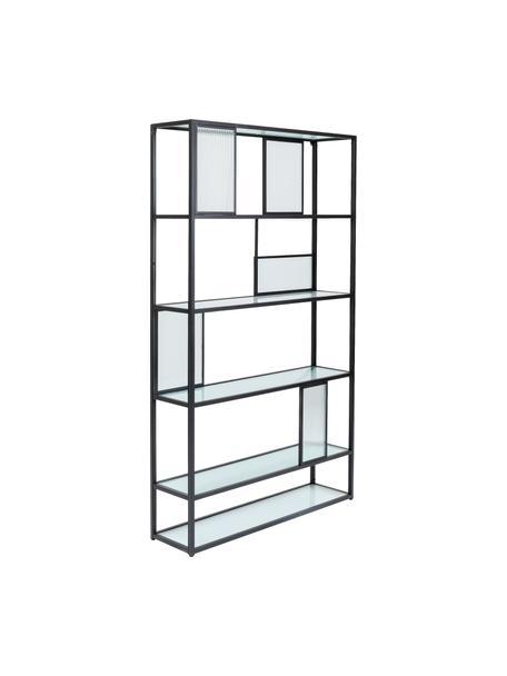 Libreria in metallo con lastre di vetro Skyler, Struttura: metallo verniciato a polv, Ripiani: vetro temperato rigato, Nero, Larg. 115 x Alt. 185 cm