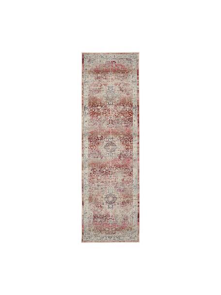 Passatoia con motivo vintage Vintage Kashan, Retro: lattice, Beige, rosso, blu, Larg. 70 x Lung. 245