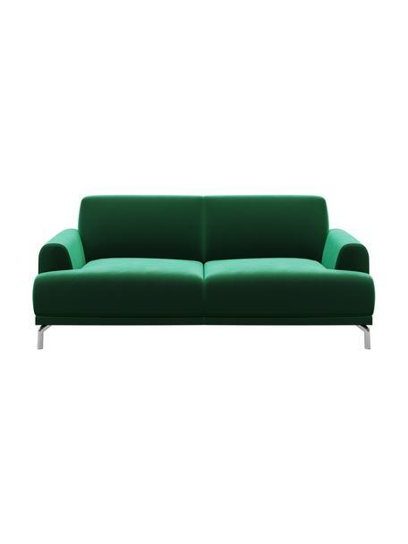Sofa z aksamitu Puzo (2-osobowa), Tapicerka: aksamit poliestrowy Dzięk, Nogi: metal lakierowany, Ciemnozielony, S 170 x G 84 cm