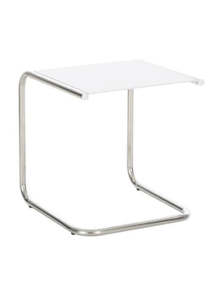 Stolik pomocniczy ogrodowy z metalu Club, Blat: metal malowany proszkowo, Stelaż: aluminium polerowane, Biały, aluminium, S 40 x G 40 cm