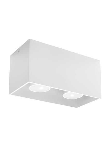 Kleine plafondspot Geo in wit, Lamp: aluminium, Wit, 20 x 10 cm