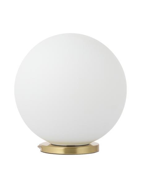 Lampada da tavolo a sfera Beth, Paralume: vetro, Base della lampada: metallo ottonato, Bianco, ottone, Ø 25 x Alt. 26 cm