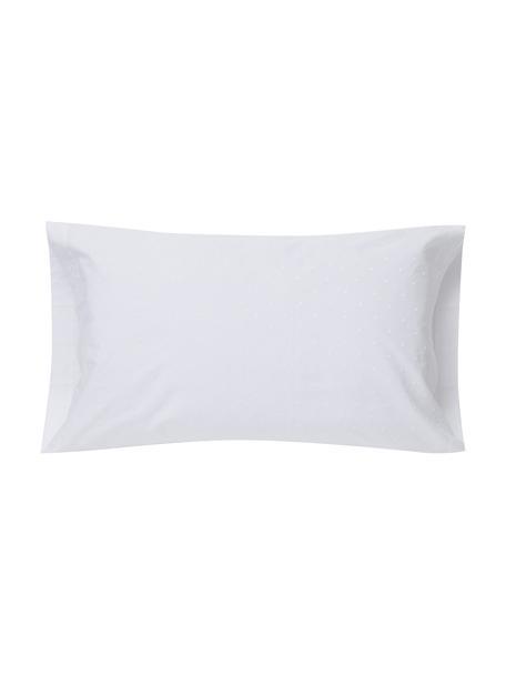 Funda de almohada con bordado Kelly, Algodón, Blanco, An 50 x L 110 cm