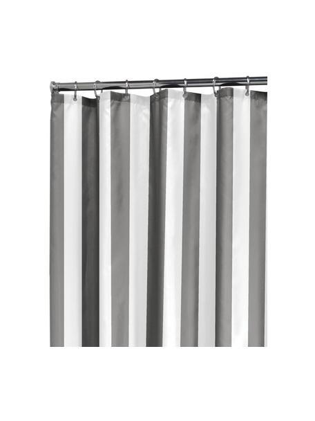 Gestreifter Duschvorhang Maggie, Grau, Weiss, 180 x 200 cm