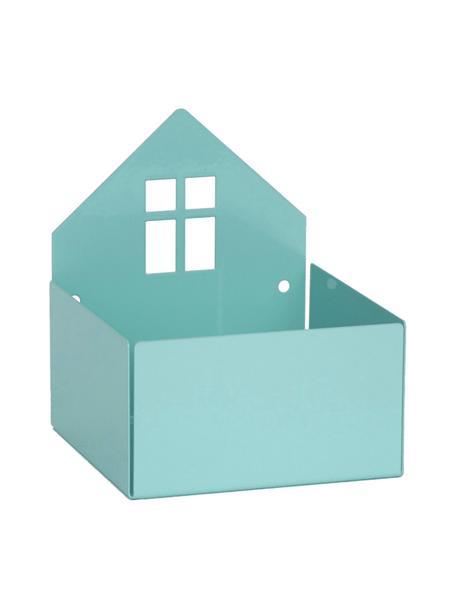 Aufbewahrungsbox Town House, Metall, pulverbeschichtet, Blau, 11 x 13 cm