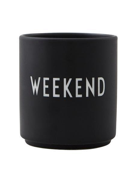 Taza de diseño Favourite WEEKEND, Porcelana fina de hueso (porcelana) Fine Bone China es una pasta de porcelana fosfática que se caracteriza por su brillo radiante y translúcido., Negro, blanco, Ø 8 x Al 9 cm