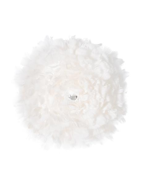 Plafond- en wandlamp Eos Up van veren, Lampenkap: ganzenveren, Wit, Ø 40 x D 15 cm