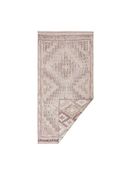 Dwustronny dywan etno Ana Squares, 80% poliester 20% bawełna, Beżowy, taupe, S 75 x D 150 cm