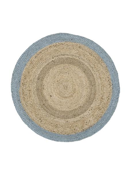 Tappeto rotondo in juta fatto a mano Shanta, Retro: juta, Juta, blu tortora, Ø 100 cm (taglia XS)
