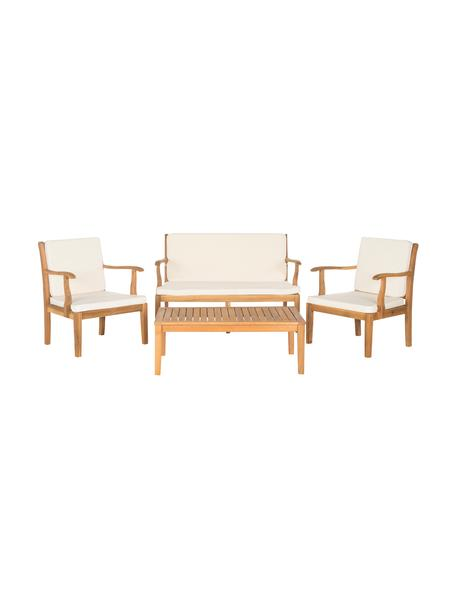 Set lounge de exterior Lugano, 4pzas., Estructura: madera de acacia aceitado, Tapizado: poliéster, Madera de acacia, crudo, Set de diferentes tamaños