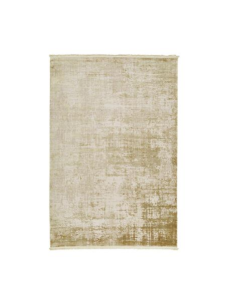 Schimmernder Teppich Cordoba mit Fransen, Vintage Style, Flor: 70% Acryl, 30% Viskose, Olivgrün, Beige, B 130 x L 190 cm (Grösse S)