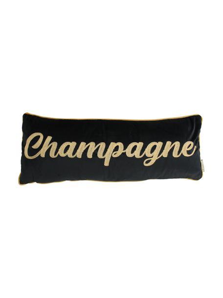 Lang fluwelen kussen Champagne met opschrift, met vulling, Polyester fluweel, Zwart, goudkleurig, 30 x 80 cm