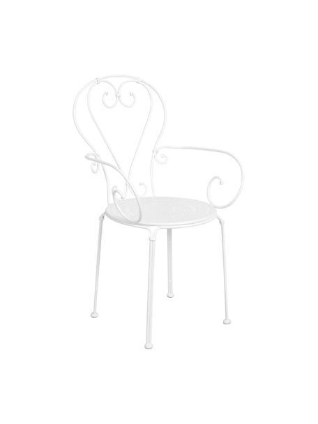 Ogrodowy fotel z metalu Century, 2 szt., Metal malowany proszkowo, odporny na warunki atmosferyczne i trwały Gumowe nasadki na nogach zapewniają antypoślizgowy spód i dodatkową ochronę przed zarysowaniami na delikatnych podłogach, Biały, S 53 x G 49 cm