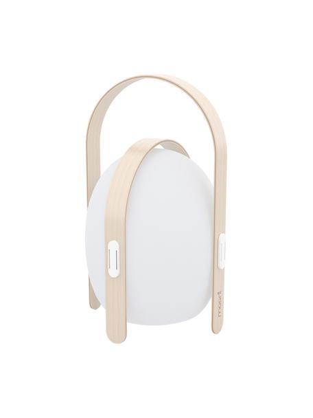 Mobile LED-Außenleuchte Ovo, Lampenschirm: Kunststoff, Gestell: Ulmenholz mit Birkenfurni, Weiß, Hellbraun, Ø 32 x H 50 cm