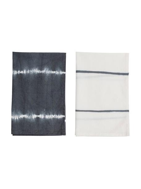 Baumwoll-Geschirrtücher Alston im Batiklook, 2er-Set, 100% Baumwolle, Grau, 45 x 70 cm