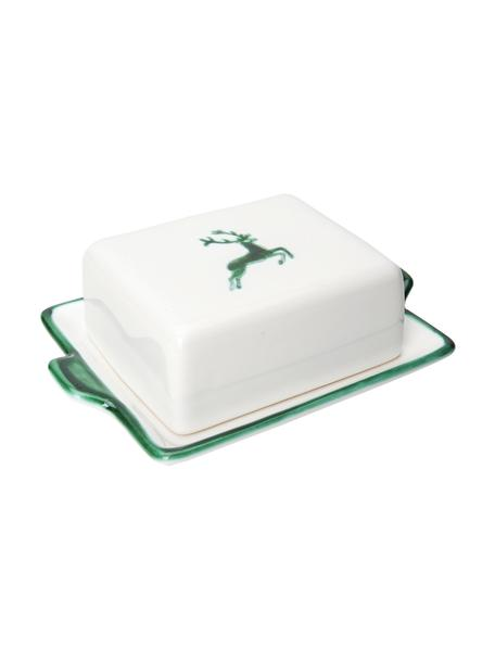 Handbeschilderde botervloot Green Deer, Keramiek, Groen, wit, 18 x 6 cm