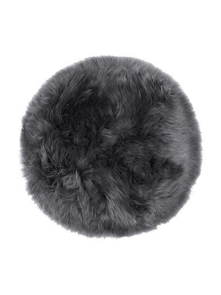 Cuscino sedia in pelliccia di pecora Oslo, Retro: 100% pelle, rivestito sen, Grigio scuro, Ø 37 cm