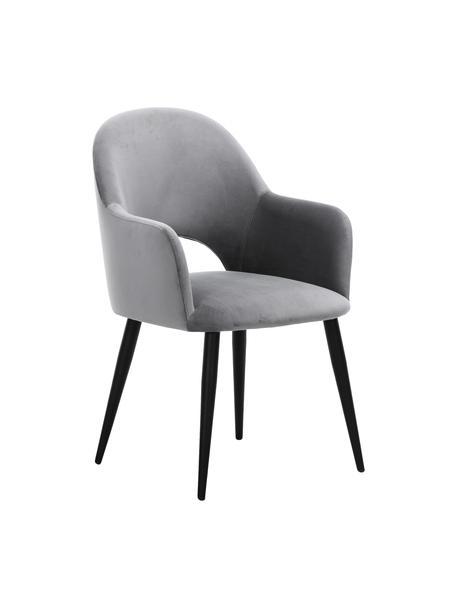 Sedia con braccioli in velluto Rachel, Rivestimento: velluto (poliestere) Con , Gambe: metallo verniciato a polv, Velluto grigio acciaio Gambe nero, Larg. 64 x Prof. 47 cm